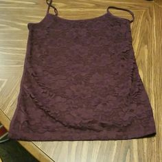 Cami tank top Maroon with floral print on the front. Only worn 1 time! Aeropostale Tops Camisoles