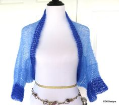Blue Mohair Shrug, Two Tone Blue Silk Mohair Sweater, Gift for Her Take 15% off with code HAPPY at checkout!