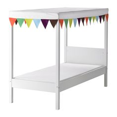 IKEA - ÖVRE, Bed w slatted bed base and canopy, , A bed canopy gives privacy and creates a room-in-room feeling.Easy to fit and to remove; leaves no marks in the bed side.Easy to keep clean: machine washable.Solid wood, a hard-wearing natural material.Slatted bed base for good air circulation.