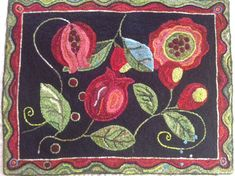 "Pomegranate Rug Hooking/Punch Needle Pattern (appr. 45"" x 35"")"