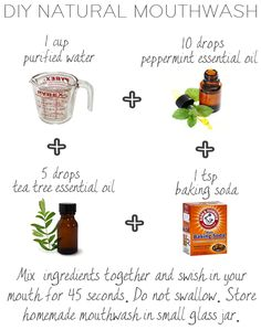 DIY NATURAL MOUTHWASH:  peppermint, tea tree oil, baking soda in water