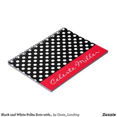 Black and White Polka Dots with Red Accent Notebook - Chic, stylish and personal, this trendy notebook features black and white polka dots embellished with a contrasting red band and custom name. Sold at Oasis_Landing on Zazzle. #polkadots