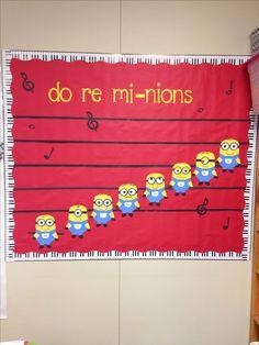 "Music room bulletin board- change the minions to ""singing things"" Minion Classroom, Classroom Crafts, Classroom Ideas, Preschool Bulletin, Future Classroom, Minions, Choir Room, Make Up Tools, Music Bulletin Boards"