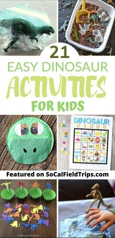 Are you raising a dinosaur obsessed little boy or girl? Then check out this list of the best dinosaurs activities and crafts for kids! From dinosaur bingo to sensory boxes to crafts theres an activity for every dino loving child. Dinosaur Activities, Dinosaur Crafts, Craft Activities For Kids, Diy Projects For Kids, Stem Activities, Toddler Activities, Crafts For Kids, Preschool Activities, Montessori Science