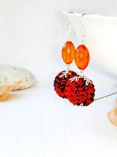 Earrings  Dangly Ball earrings Autumn color by MiracleFromThreads, $15.00