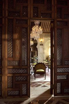 "Step Into a Palace — The New Royal Mansour Hotel in Marrakech ""The beauty of Moroccan palaces is made up of details of ornament and r. Moroccan Design, Moroccan Decor, Moroccan Style, Moroccan Bedroom, Moroccan Lanterns, Door Design, Exterior Design, Interior And Exterior, House Design"