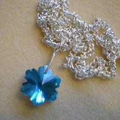 Aqua Blue Snowflake  Faceted Glass Pendant with approx by greanbea, $7.70