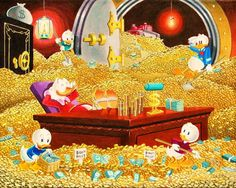 Scrooge McDuck, Donald Duck with Huey, Louie and Dewey 1295x1034