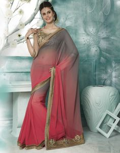 Shades Of Grey & Pink Color Georgette Designer Sarees For Wedding & Function