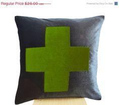10 OFF Grey Pillow Grey Green Throw Pillow  Velvet by AmoreBeaute