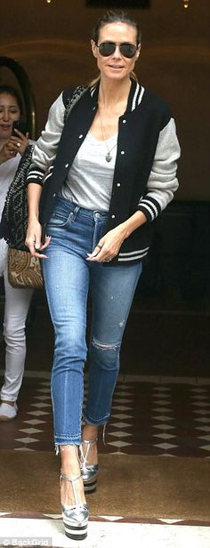 Heidi Klum steps out in varsity jacket and skinny jeans | Daily Mail Online