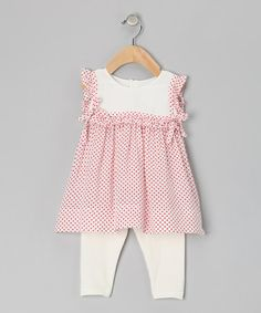 Loving this White & Red Polka Dot Tunic & Leggings - Infant & Toddler on #zulily! #zulilyfinds