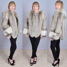 Stunning Vintage 40s Scalloped Shadow Fox Fur Coat Stroller Jacket M  #Unbranded #Coat