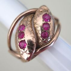 Antique Victorian Edwardian 9ct 9k Rose Gold Two Snake Entwined Ruby Paste Ring