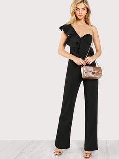 a0ff464b104 Jumpsuits Ruffle Accent Single Shoulder Bustier Jumpsuit Clothing. Buy Black  ...