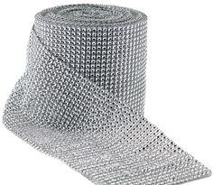 Amazon.com - Dress My Cupcake Silver Diamond Rhinestone Ribbon Wrap BULK 30 feet - Wedding Decorations, Party Supplies - Diamond Mesh Wrap R...