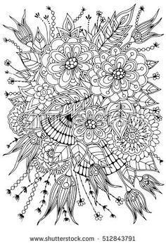 Hand drawn backdrop. Coloring book  page for adult and older children. Black and white abstract floral pattern. Vector illustration.