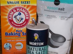 Homemade Foot Detox    Ingredients:  1 Cup Sea Salt  1 Cup Epsom Salt  2 Cups Baking Soda    You mix all the dry ingredients together and store in an airtight container.  When you are ready to use, measure out 1/4 cup of mixture and add to hot water.  The water should be as hot as  you can comfortably stand.  Leave your feet soaking for 30 minutes.  Periodically keep adding hot water to the bath.