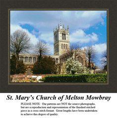 St. Mary's Church of Melton Mowbray,  #alluringlandscapes #countedcrossstitchpatterns, #designschartskits #pinterestcrossstitchpattern