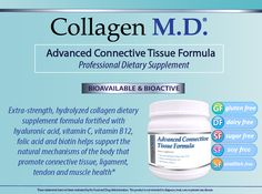 Extra-strength hydrolyzed collagen dietary supplement formulation: Collagen M.D. Advanced Connective Tissue Formula www.collagenmdprofessional.com
