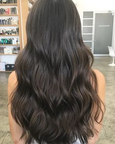 😱 Here we cleaned up the ends and added some soft blended long layers through the back and brought up the length around… Hair Color Dark, Brown Hair Colors, Dark Hair, Dark Ash Brown Hair, Soft Black Hair, Cool Tone Brown Hair, Brown Hair Tones, Dark Brown Hair Extensions, Extensions Hair