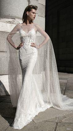 berta fall 2016 bridal beautiful spagetti strap sheath wedding dress sweetheart neckline with lace see through cape