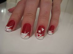 Nail art is a very popular trend these days and every woman you meet seems to have beautiful nails. It used to be that women would just go get a manicure or pedicure to get their nails trimmed and shaped with just a few coats of plain nail polish. Valentine's Day Nail Designs, Fingernail Designs, French Nail Designs, Acrylic Nail Designs, Nails Design, French Nails, French Manicures, Nail Art Saint-valentin, Valentine Nail Art