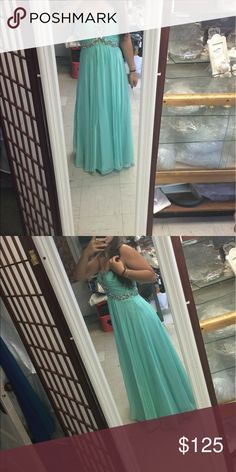 Aqua blue prom dress Beautiful strapless prom dress with an beaded top:) Dresses Prom