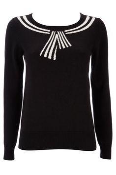 Petite Black Sailor Collar Sweater