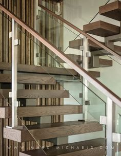 Floating Glass/Wood Staircase, 2014 New American Home Floating Staircase, Staircase Railings, Staircase Design, Stairways, Stair Design, Staircase Ideas, Wood Stair Treads, Modern Mountain Home, Modern Stairs