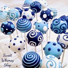 Bathroom Tray Decor Cake Pops to add to the baby shower. These blue and white cake pops are quite simply but look amazing.Bathroom Tray Decor Cake Pops to add to the baby shower. These blue and white cake pops are quite simply but look amazing. Baby Shower Cake Pops, Baby Shower Cakes For Boys, Baby Shower Favors, Shower Party, Baby Shower Parties, Baby Shower Themes, Baby Boy Shower, Shower Ideas, Baby Showers