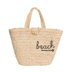 To-The-Beach Crocheted Raffia Summer Tote Bag (215 BRL) ❤ liked on Polyvore featuring bags, handbags, tote bags, beach, totes, beach bag, sac, tote purses, summer totes and lightweight tote