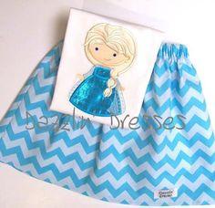 Dazzlin' Dresses Custom Ice Queen Appliqued Heart Shirt & Chevron Skirt Set  Girls 12M-6 on Etsy, $40.00