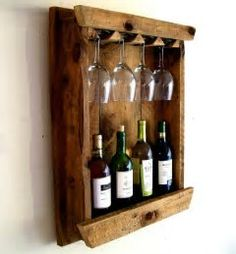 Image result for wood wine glass holder over a wine  bottle
