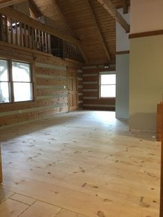 How to DIY wide plank pine floors, log cabin home renovation. Plywood Plank Flooring, Pine Wood Flooring, Diy Wood Floors, Farmhouse Flooring, Pine Floors, Diy Flooring, Hardwood Floors, Flooring Types, Flooring Ideas