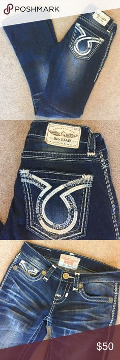 "Big Star Liv Bootcut Jeans Distressed front. 30"" inseam. 94% cotton 5.5% polyester .5% spandex Big Star Jeans Boot Cut"