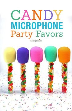 How to make Candy Microphone Party Favors! Easy DIY fun food craft for a birthday gift or any celebration! Filled with gummy bears these treats make kids sing with delight! Dance Party Kids, Dance Party Birthday, Trolls Birthday Party, 7th Birthday, Frozen Birthday, Diy Karaoke Party, Music Party, Music Themed Parties, Rockstar Party