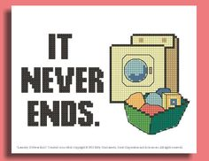 Funny Cross Stitch Pattern: Laundry Never Ends