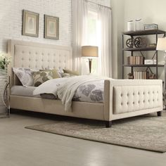 Bellevista Square Button-tufted Upholstered Full-size Bed with Footboard by iNSPIRE Q Bold (Queen Size - Grey Linen)