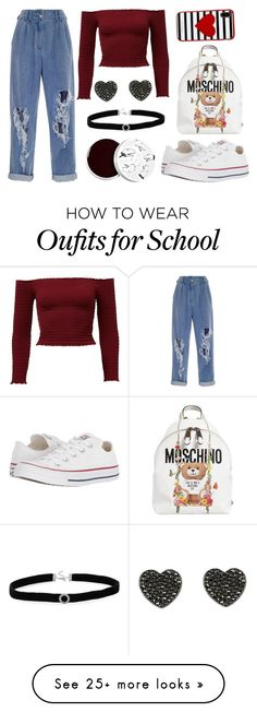 """I'd never lie"" by tablina on Polyvore featuring Converse, Moschino, Balmain, Kate Spade, BillyTheTree and too cool for school"
