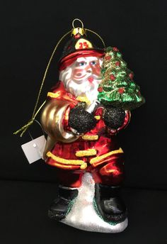 Fireman Santa Claus holding Christmas Tree Christmas Ornament Blown Glass New #Unknown