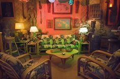 amazing tiki themed living room:: the greaser garage - news ::: From Tiki Townhouse to Mid-Century Mansion