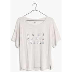 MADEWELL Linen Rome Paris London Tee ($20) ❤ liked on Polyvore featuring tops, t-shirts, pale grey, crop top, madewell t shirts, polka dot top, boxy tee and drapey tee