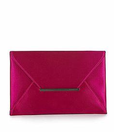 BCBGMAXAZRIA Harlow Fuschia Satin Envelope Clutch #Dillards