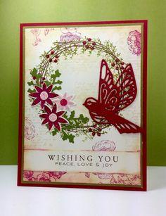 Twig Wreath: PTI, bird die: Penny Black by beesmom - Cards and Paper Crafts at Splitcoaststampers