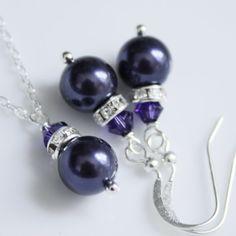 Sterling Silver Dark Purple Pearl Jewelry Set by alexandreasjewels, $20.00