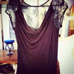 Grey modal and lace top with cowl neck from express. Gorgeous piece.