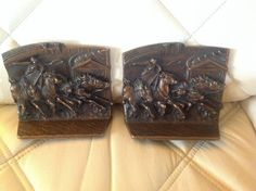 Vintage SOLID BRONZE Chariot Race Horse Stampede Horses Bookends #695 circa 1925
