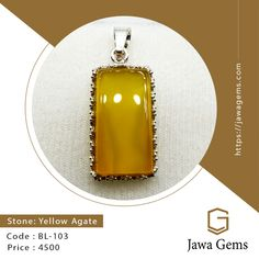 Yellow Agate Pendant BL 103 ₨ 4,500 For more details whatsapp on 03159477284 Free delivery all over Pakistan Yellow Sapphire stone unites lovers who are separated. The wearer of yellow sapphire gets the knowledge of the law, ethics, wit, wisdom, worldly happiness, physical power, cleverness, long life, good health #JawaGems #Jawa #YellowSapphire #YellowSapphirering #YellowSapphirebracelet #YellowSapphirependent #YellowSapphireearring #Stone #FemaleRing #Ruby #Feroza #Opal #BuyOnline…