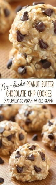 No-bake Peanut Butter Chocolate Chip Cookies {naturally gluten-free, vegan, dairy-free, maple sweetened, and 100% whole grain} All clean eating ingredients are used for this healthy, no bake dessert recipe. Pin now for later.